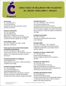 Directorio de recursos para pacientes de cáncer, familiares y amigos